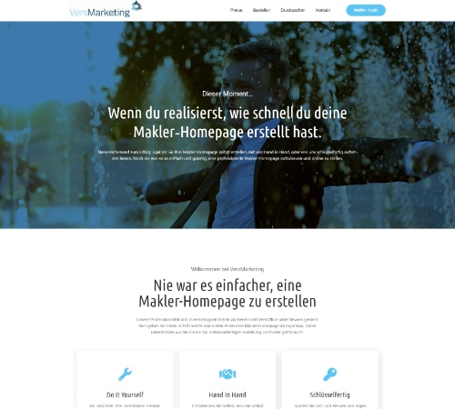 Maklerhomepage von VersMarketing by VersOffice